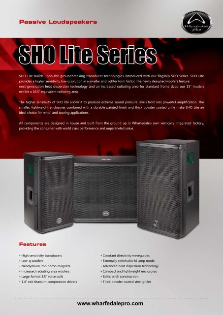 SHO Lite Series Brochure - Wharfedale Pro