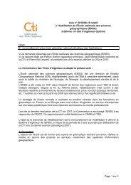 Avis ENSG - Commission des Titres d'Ingénieur