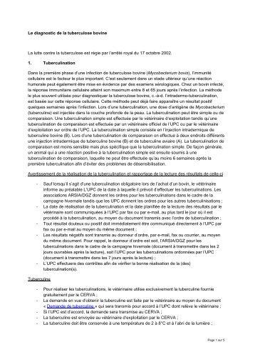 Le diagnostic de la tuberculose bovine La lutte contre la ... - FAVV