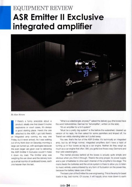 English review of ASR Emitter II Exclusive, HiFi + magazine by Alan