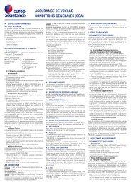ASSURANCE DE VOYAGE CONDITIONS GENERALES (CGA)