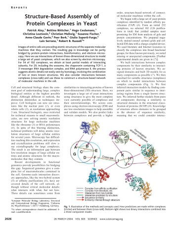 Structure-Based Assembly of Protein Complexes in Yeast