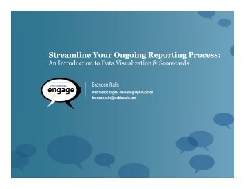 Streamline Your Ongoing Reporting Process: g g p g