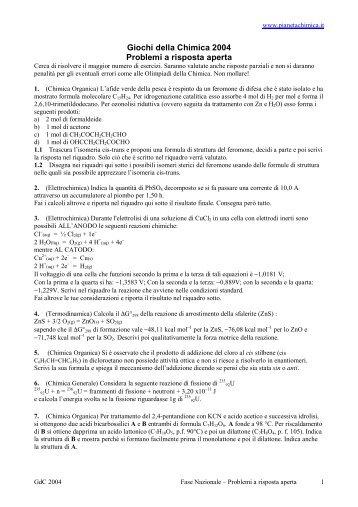 Nazionali-Risposta Aperta + risposte - PianetaChimica.it