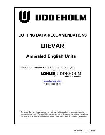 DIEVAR Cutting Data - Imperial Units