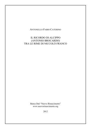 IL RICORDO DI ALCIPPO (ANTONIO ... - Nuovo Rinascimento