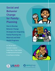 Social and Behavior Change for Family Planning - CORE Group