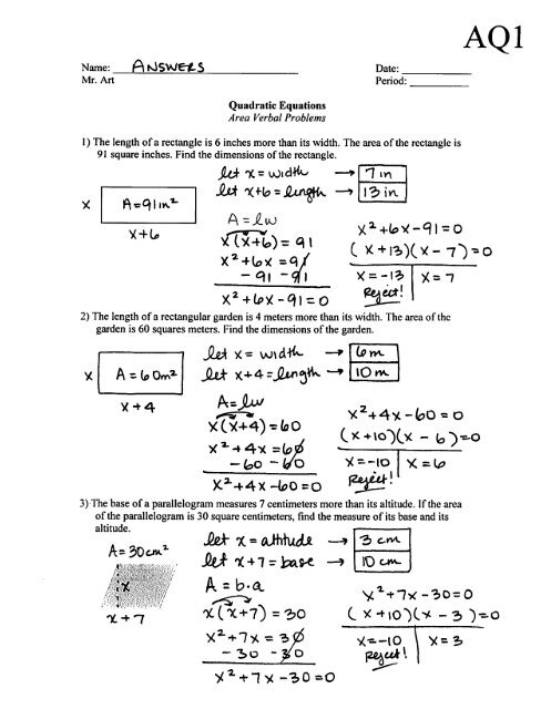 Quadratic Equations Area Problems Worksheet Aq1 Answers Pdf