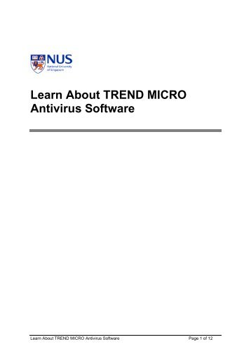 Learn About TREND MICRO Antivirus Software