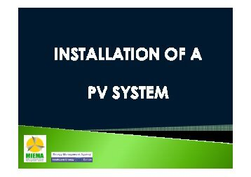 Guides to installation of a Photo Voltaic system - MIEMA