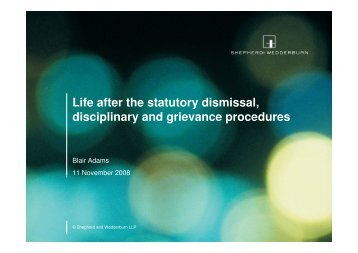 Life after the statutory dismissal, disciplinary and grievance ... - CIPD