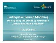 Applications in Earthquake modelling (Martin Mai ... - LinkSCEEM