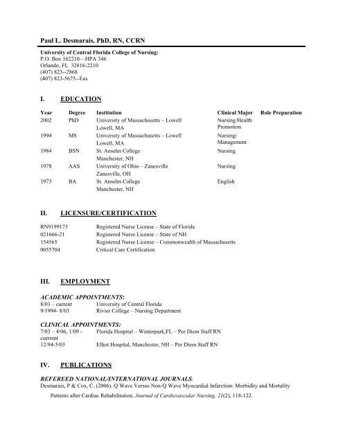 Ucf College Of Nursing >> Paul L Desmarais Phd Rn Ccrn Ucf College Of Nursing
