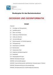 Studienplan für das Bachelorstudium Geodaesie und Geoinformatik