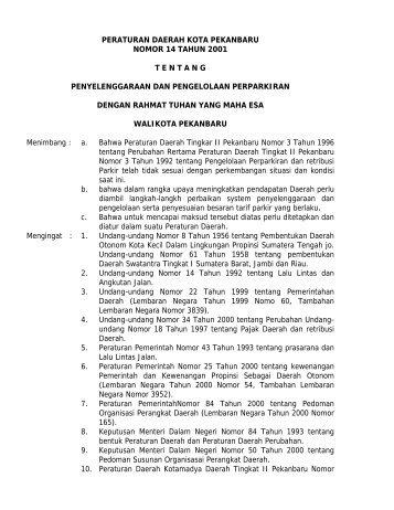 peraturan daerah kota pekanbaru nomor 14 tahun 2001 tentang ...