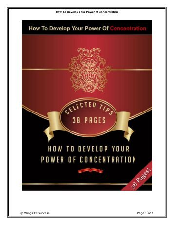 How To Develop Your Power of Concentration ... - Mompreneur Asia