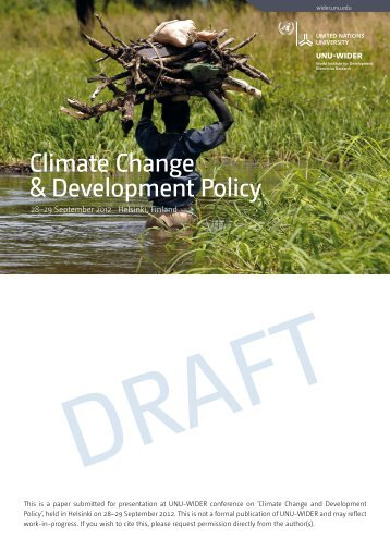 Climate change adaptation in the context of ... - UNU-WIDER