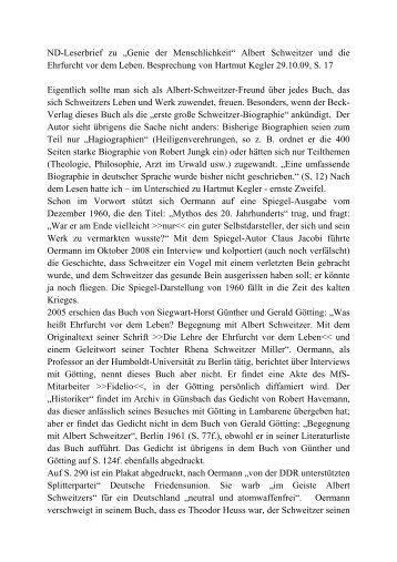 ND-Leserbrief zu Hartmut Keglers Rezession der Albert Schweitzer ...