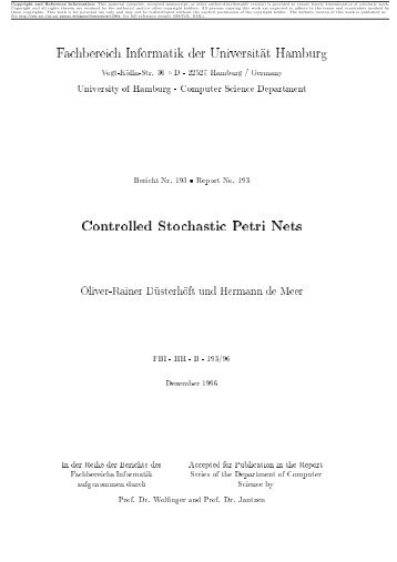 Controlled Stochastic Petri Nets - Computer Networks and ...