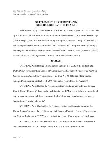 SEPARATION AGREEMENT AND RELEASE OF ALL CLAIMS This ...