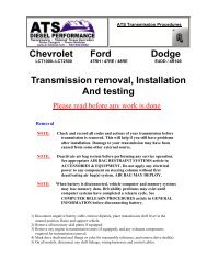 Chevrolet Ford Dodge Transmission removal, Installation And testing
