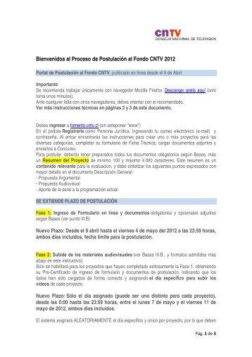 Bienvenidos al Proceso de Postulación al Fondo CNTV 2012