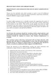 Classroom Assistant Policy - Belfast Education & Library Board