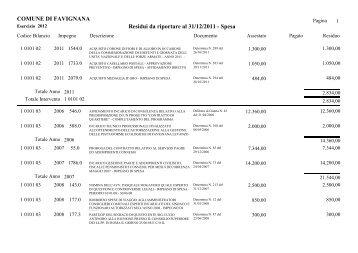 COMUNE DI FAVIGNANA Residui da riportare al 31/12/2011 - Spesa