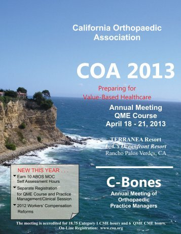 Coa 2013 - California Orthopaedic Association