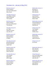 Volunteer List - January to May 2012 - St. Mary's Academy