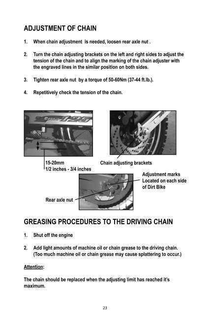 Adjustment of Chain 1  Wh