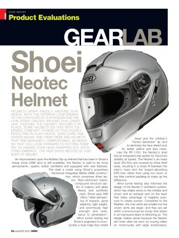 Rider magazine review of the all-new SHOEI Neotec helmet.