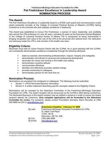 Pat Fredrickson Excellence in Leadership Award NOMINATION ...