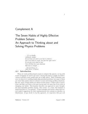 Complement A The Seven Habits of Highly Effective Problem ...
