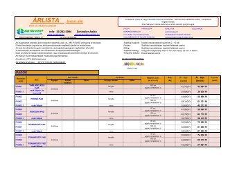 ÁRLISTA 2012.01.-290. info: 20 282-3994 Schindler ... - Royal-Kert Kft.