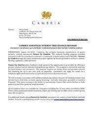 CAMBRIA ANNOUNCES INTEREST FREE FINANCE PROGRAM
