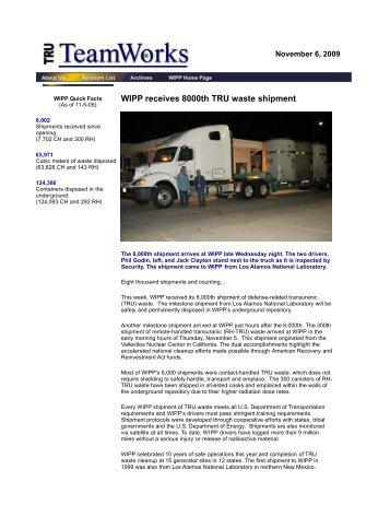 November 6, 2009 - Waste Isolation Pilot Plant - U.S. Department of ...