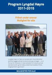 Program Lyngdal Høyre 2011-2015 - Lyngdal kommune