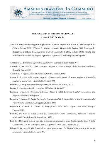 1 BIBLIOGRAFIA DI DIRITTO REGIONALE A cura di G.C. De Martin ...