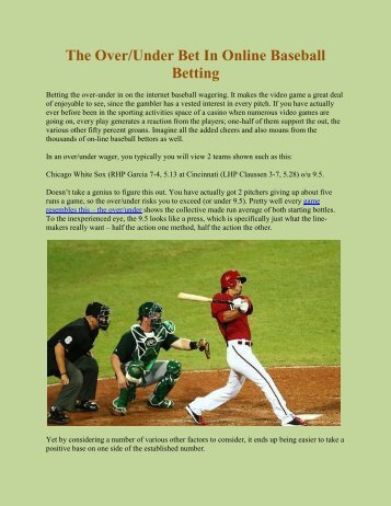 The Over/Under Bet In Online Baseball Betting