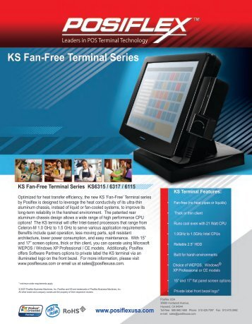 Posiflex KS-6000 Datasheet - The Barcode Warehouse