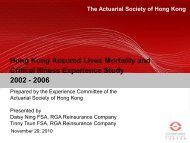 Hong Kong Assured Lives Mortality and Critical Illness - Actuarial ...