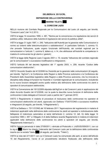 Delibera 25/13/CRL - Corecom Lazio