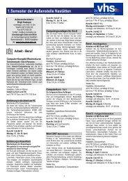 Programmübersicht 1. Halbjahr 2013