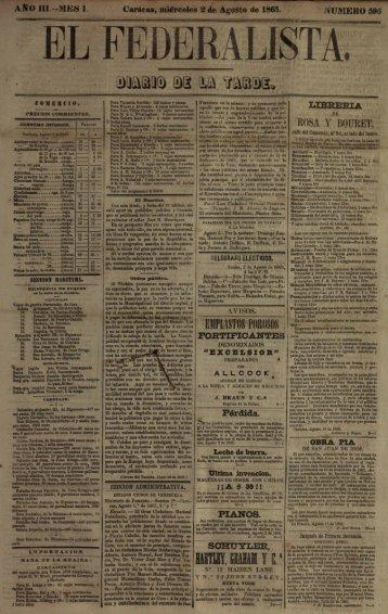Page 1 Caracas, miércoles 2 de Agosto de 1865. l ŕ WMU@ El@ __ ...