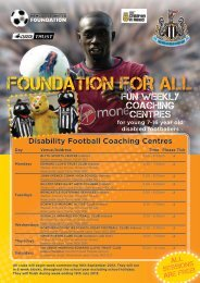 Disability Football Coaching Centres - Newcastle United