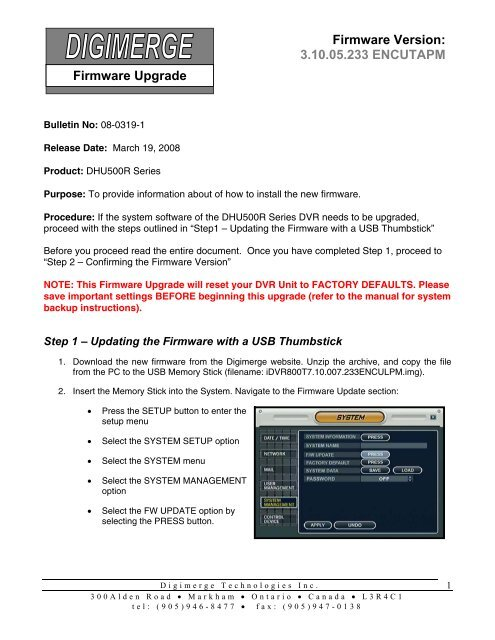 Firmware Upgrade Instructions for the DHU500R Series     - Digimerge