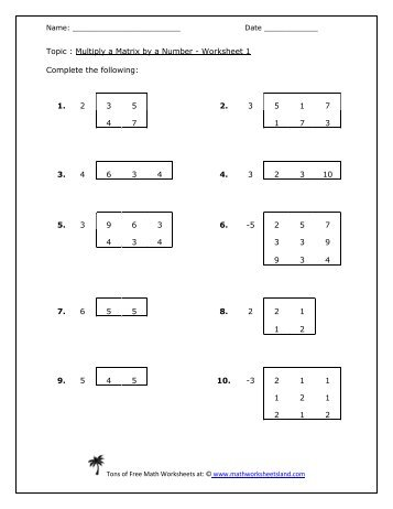 adding subtracting multiplying matrices worksheet adding subtracting and scalar multiplication. Black Bedroom Furniture Sets. Home Design Ideas