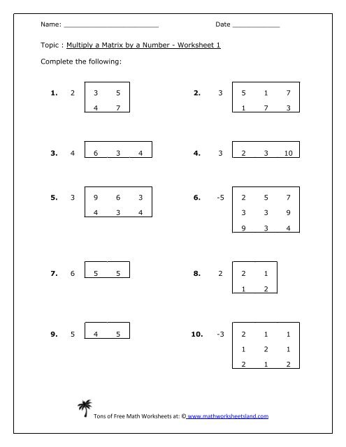 Multiply A Matrix By A Number Five Pack Math Worksheets Land