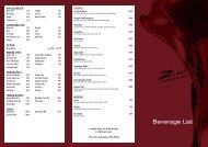 Beverage List - Menulog